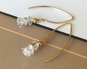 Raw Herkimer Diamond Earrings in Gold or Silver