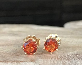 Padparadscha Sapphire Stud Earrings