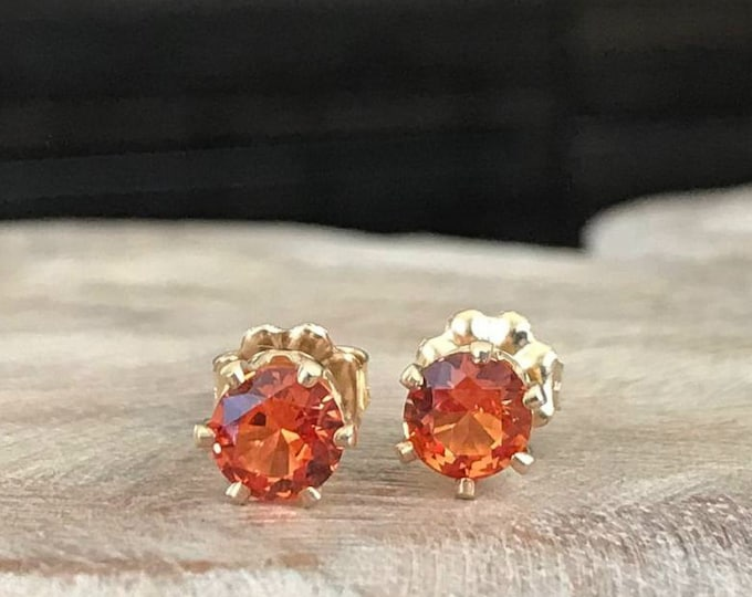 Featured listing image: Padparadscha Sapphire Stud Earrings