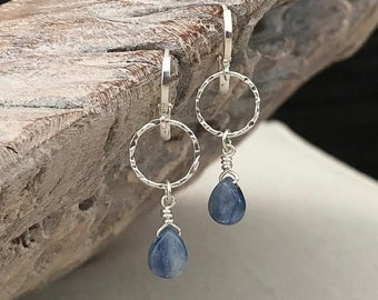 Dainty Blue Kyanite Hoop Earrings