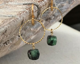 Ruby Zoisite Hoop Earrings