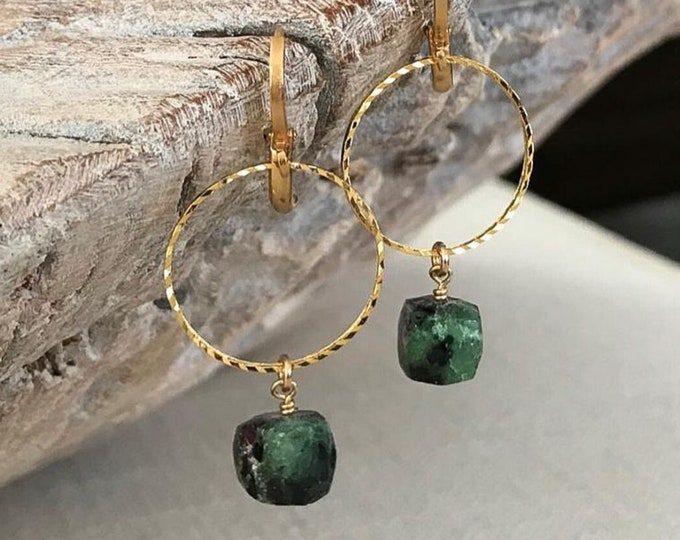 Featured listing image: Ruby Zoisite Hoop Earrings