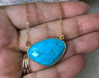 Gold Triangle Turquoise Necklace