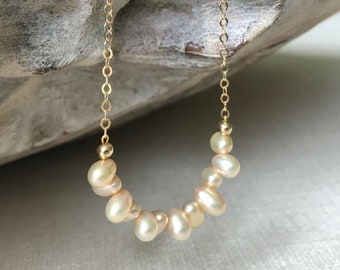Champagne Pearl Necklace in Gold or Silver