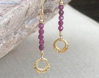 Long Gold Ruby Earrings