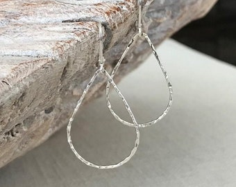 Medium Silver Teardrop Hoops