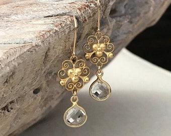 Vintage Inspired Clear Crystal Quartz Earrings