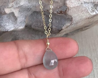 Gold Moss Aquamarine Necklace