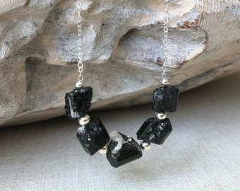 Raw Black Tourmaline Necklace in Gold or Silver