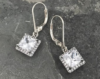 Dainty Silver Cushion Halo CZ Earrings