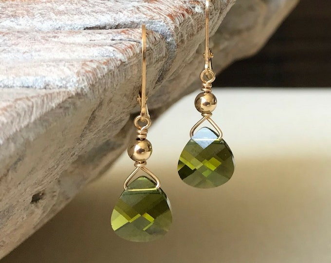 Featured listing image: Olivine Crystal Earrings in Gold or Silver