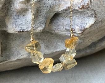 Citrine Necklace, November Birthstone, Natural Gemstone Necklace, Citrine Jewelry, Scorpio Zodiac, Christmas Gift for Her