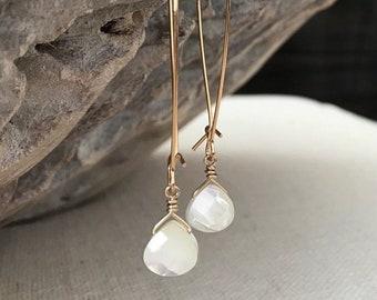 Long Mother of Pearl Dangle Earrings