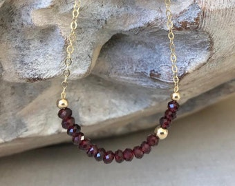 Garnet Necklace in Gold or Silver