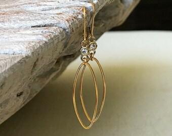 Small CZ Hoop Earrings in Gold or Silver