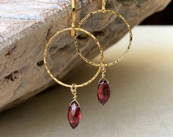 Medium Garnet Marquise Drop Hoop Earrings
