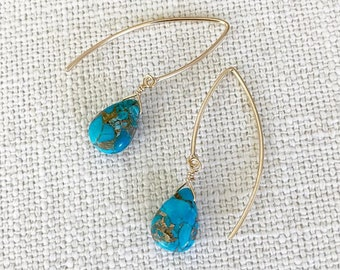Sky Copper Turquoise Earrings in Gold or Silver