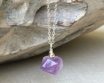 Raw Amethyst Necklace in Gold or Silver