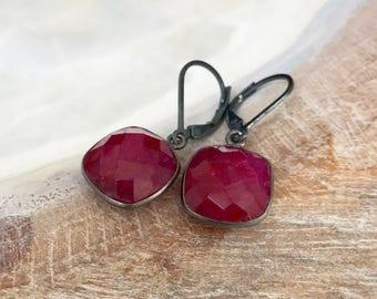 Oxidized Silver Ruby Bezel Earrings