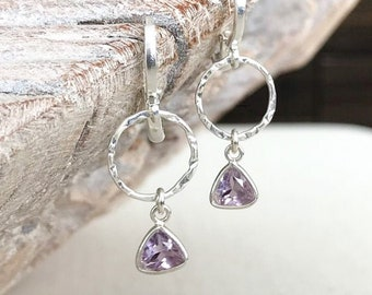 Silver Amethyst Dangle Earrings
