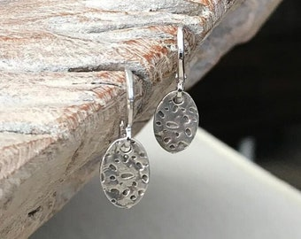 Small Oval Silver Disc Earrings