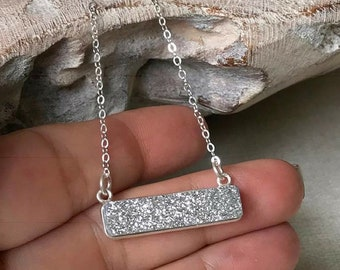 Raw Silver Druzy Bar Necklace