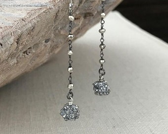 Long Silver Druzy Earrings