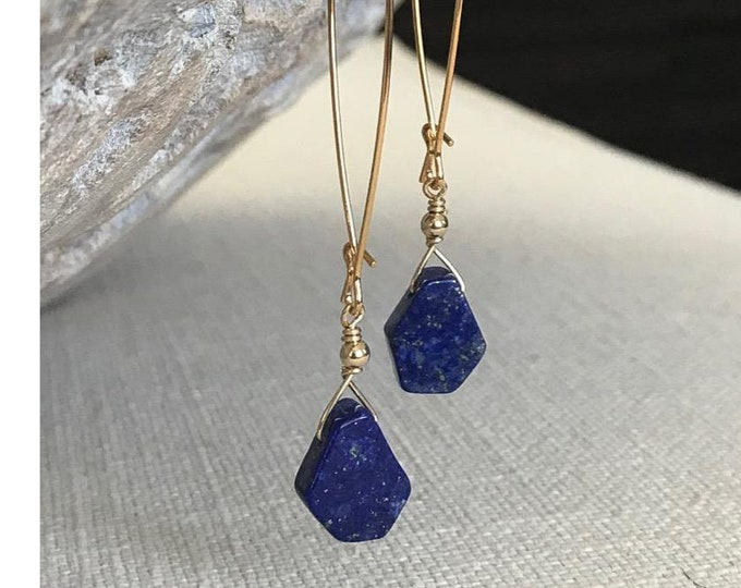 Featured listing image: Long Lapis Lazuli Earrings