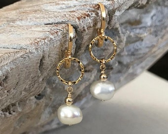 Gold Keshi Pearl Dangle Earrings