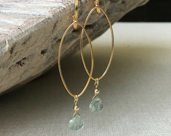 Moss Aquamarine Earrings Gold or Silver
