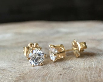 CZ Stud Earrings in Gold or Silver