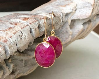 Large Gold Oval Ruby Earrings