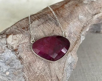 Large Ruby Triangle Pendant Necklace