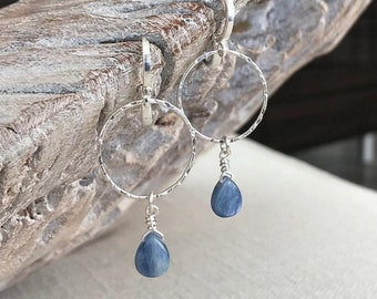 Blue Kyanite Hoop Earrings