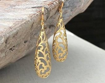 Long Matte Gold Filigree Earrings