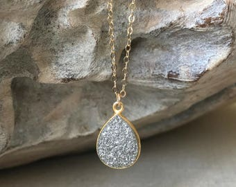 Gold Silver Druzy Necklace