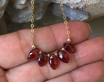 Dainty Garnet Marquise Necklace