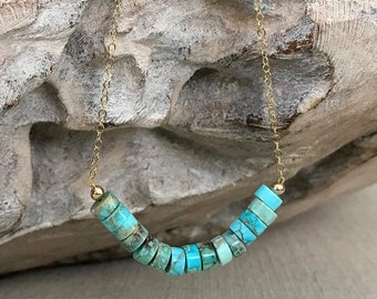 Turquoise Blue Imperial Jasper Bar Necklace in Gold or Silver