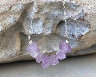 Raw Brazilian Amethyst Necklace in Gold or Silver