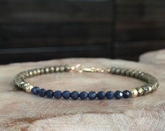 Sapphire and Gold Hematite Bracelet