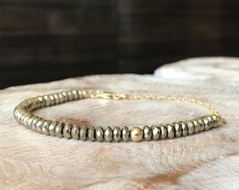 Pyrite Hematite Bracelet in Gold or Silver