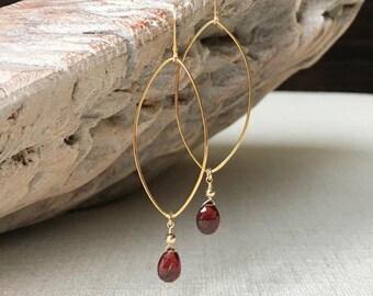 Garnet Earrings in Gold or Silver