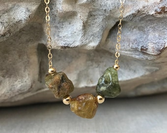 Raw Green Garnet Necklace in Gold or Silver