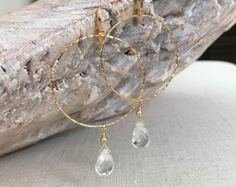 Large Hoop Earrings with Clear Crystal Dangle