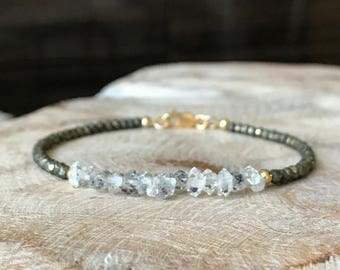 Gold Raw Herkimer Diamond Pyrite Bracelet