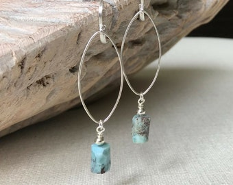 Larimar Hoop Earrings in Gold or Silver
