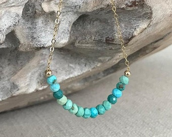 Turquoise Bar Necklace in Gold or Silver