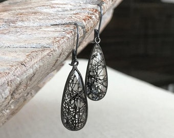 Black Rutile Quartz Teardrop Earrings in Oxidized Silver