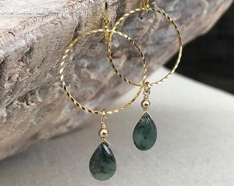 Gold Emerald Dangle Hoop Earrings