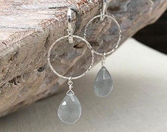 Moss Aquamarine Hoop Earrings